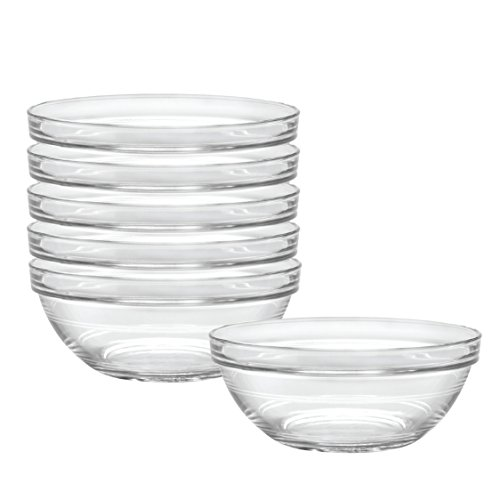 Duralex Made In France Lys 6-3/4-Inch Stackable Clear Bowl, Set of 6