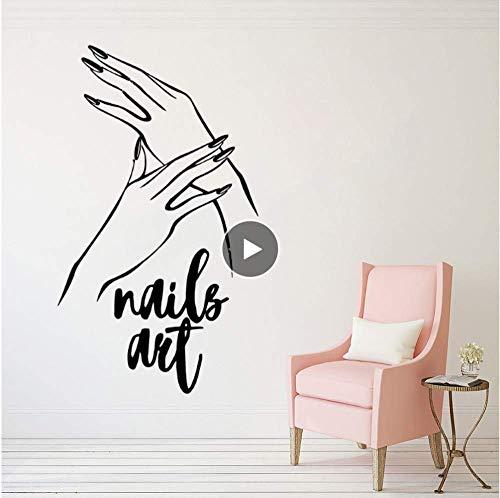 Spijkers kunst vinyl muursticker nagellak muurschildering manicure pedicure muursticker design beauty salon raam decoratie 57 * 98 cm