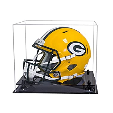 Better Display Cases Deluxe Clear Acrylic Football Helmet Display Case with Black Risers (A002-BR)