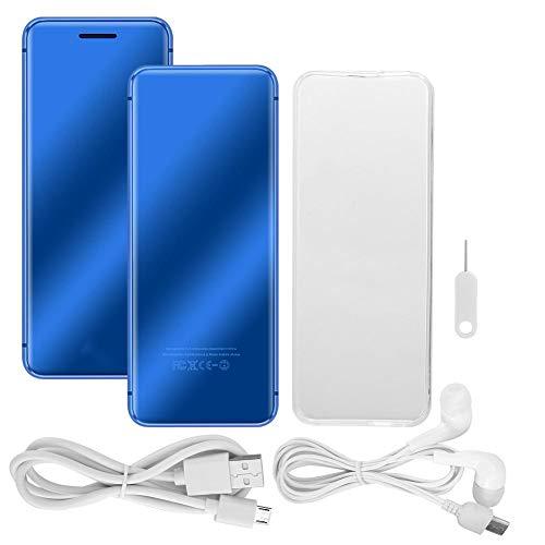 Teléfono Celular Desbloqueado, Mini teléfono Celular ultradelgado con Ranura para Tarjeta Doble con Pantalla táctil, Capacidad de batería de 700 mAh, teléfono Inteligente(Azul)