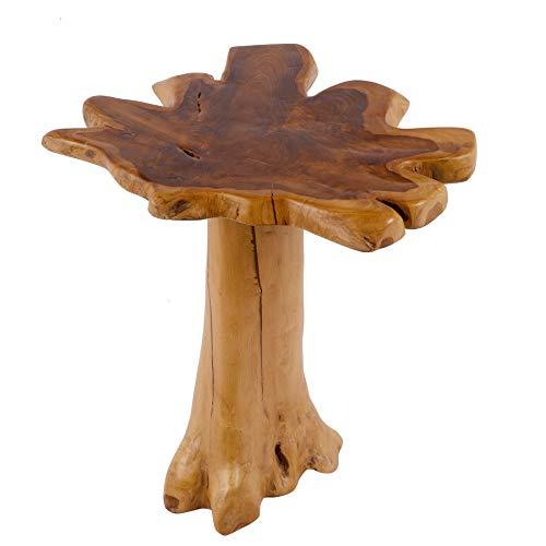 Riess Ambiente Massiver Baumstamm Couchtisch Root 60cm Teakholz Beistelltisch mit Jahresringen