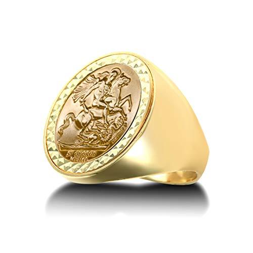 Jewelco Europa Anillo con medallón de San Jorge y dragón pulido con cúpula de oro macizo de 9 quilates para hombre (tamaño Sov completo)