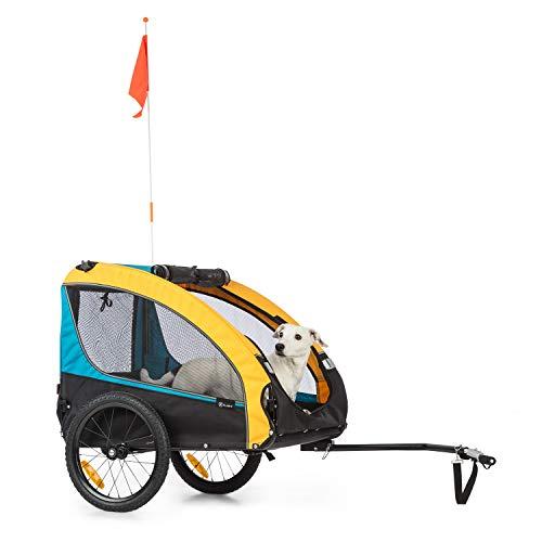 KLAR FIT Klarfit Husky Race Remorque de vélo pour Chien : Volume env. 282 litres, matériau : 600D - Toile Oxford avec revêtement PVC imperméable, SmartSpace Concept: Pliable, Couleur : Jaune/Bleu