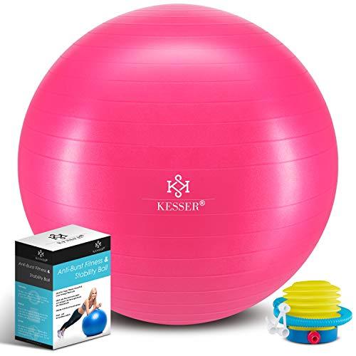 KESSER® Gymnastikball mit Luftpumpe Pumpe - Dicker Yogaball 55cm BPA-Frei   Sitzball Büro Anti-Burst als Fitness Yoga Core Büro-Stuhl als Fitness Kleingeräte, Balance Stuhl Gym-Home-Büro, Rosa