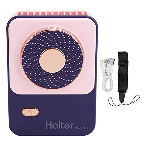 Ventilador de cuello colgante, mini ventilador de refrigeración portátil Ventiladores USB portátiles recargables con cordón, viento de 3 engranajes, para mujeres, niños, oficina en casa, viajes al air