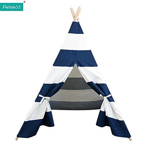 Pericross-145cm 100% coton Tente indienne pour enfant (bleu-blanc)
