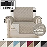 H.VERSAILTEX Reversible Chair Cover for Dogs Pet Sofa Protector Chair Slipcover 2' Thick Straps Slip-Resistant Chair Protector Soft Quilted Cotton Alike Seat Width Up to 21' (Chair, Khaki/Beige)