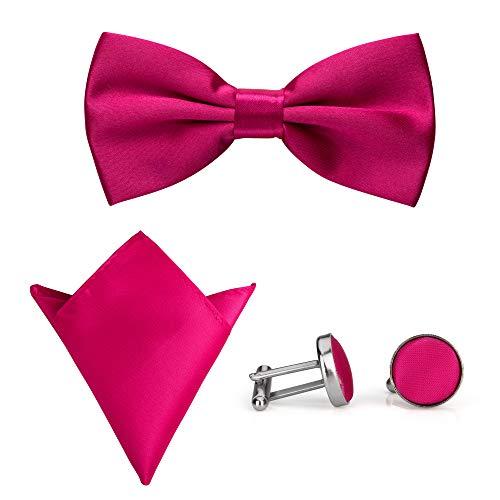 Rusty Bob - Fliege mit Einstecktuch und Manschettenknöpfe | verschiedene Farben | 3er Set (Pink)