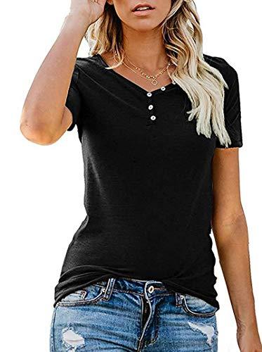 SLYZ Botón De Cuello En V De Estilo Nuevo De Verano De Mujeres Europeas Y Americanas Blusa De Camiseta De Manga Corta Informal Delgada