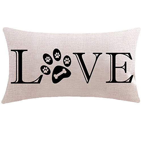 ITFRO Great Pet Dog Lover Gift with Words Love Paw Prints Bone Lumbar Sofa Decorative Beige Cotton Linen Throw Pillow Case Cushion Cover Oblong 12x20 inches