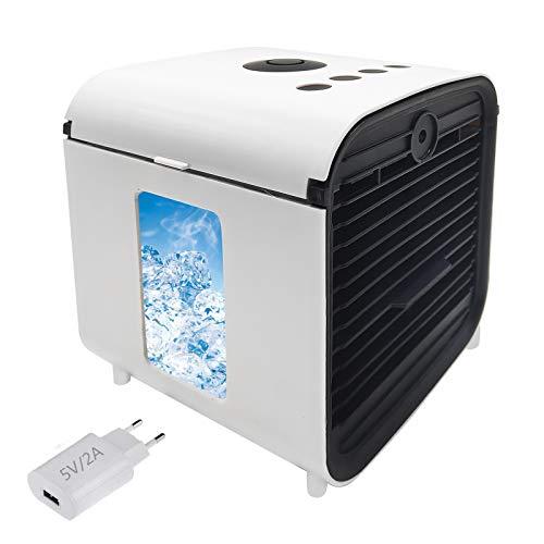 Air Cooler, Nifogo Portable Condizionatore Portatile, 3 in 1 Mini Raffrescatore d'Aria Evaporativo Umidificatore Purificatore, Leakproof & New Filter(Bianco+Spina)
