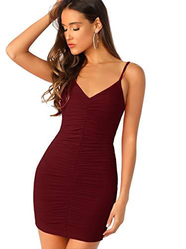 Soly Hux Damen-Kleid, figurbetont, sexy, mit Falten, kurzes Kleid, V-Ausschnitt, rückenfrei, ohne Ärmel, mit Trägern, Abendkleid, Cocktail-Clubwear Gr. Small, bordeaux