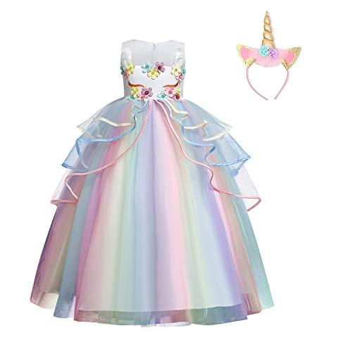 NNJXD Vestidos Niñas Fiesta,Vestido de Comunion de Niña,Boda de Los Niños de 0 a 8 Años