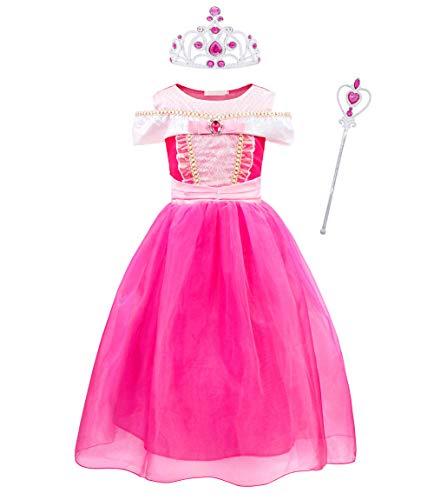 Jurebecia Disfraz Princesa Niña Princesa Aurora Costumes Falda de Tul Halloween Fiesta de Lujo Cumpleaños Princesa Vestidos Navidad Ceremonia Aniversario Cosplay Costume Rosa 7-8 Años G013