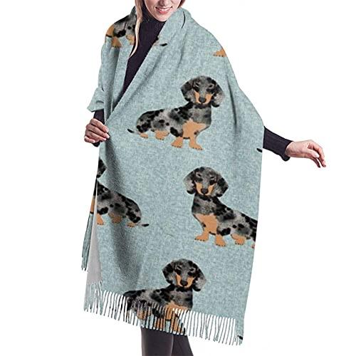 Tymeihao Bufanda Dapple Dachshund Dachshund Dog Doxie Dapple Doxie lindo perro bufanda chal súper suave con borla moda gran bufanda cálida abrigo de invierno estola para mujer Longitud 196 cm