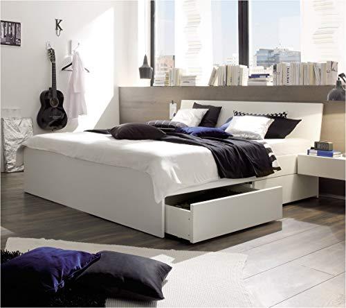 Preisvergleich Produktbild Hasena Spazio Stauraumbett mit Schubladen Buche weiß lackiert 180x200