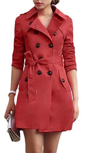 Sweetmini Damen-Trenchcoat mit Revers, zweireihig, für Herbst und Winter, schmaler Trenchcoat Gr. XX-Small, weinrot
