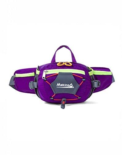 Makino multifonctions/Femme Veste imperméable Taille Pack avec bouteille d'eau support pour Course à Pied Randonnée Vélo Camping Voyage 5541 violet