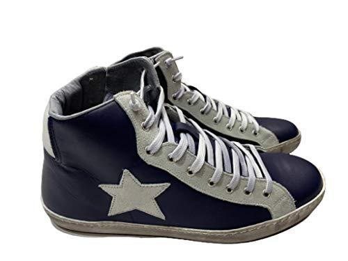 VIA CONDOTTI Zapatillas altas de hombre de piel azul con estrella de hielo nuevo bicolor