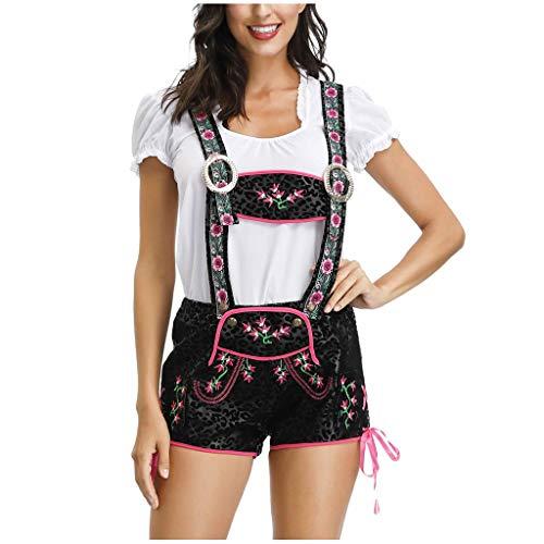 Traje de tirolesa de 3 piezas para mujer, disfraz para fiesta de cerveza, Oktoberfest, carnaval, sombrero, mono y camiseta
