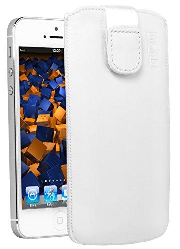 mumbi Echt Ledertasche kompatibel mit iPod Touch 5G / 6G / 7G Hülle Leder Tasche Hülle Wallet, Weiss
