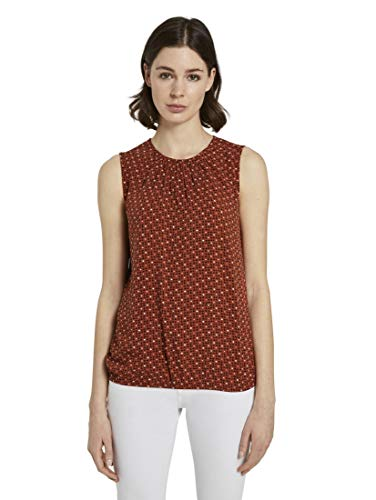 Tom Tailor Rundhals T-Shirt, 24044/Brown Geometric Desi, 44 Donna