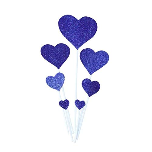 US Warehouse - Cake Decorating Supplies - 7pcs Birthday Cake Flag Inserted Card Heart Shaped Love Shiny Inserts Birthday Cake Decoration Card - (Color: Blue)