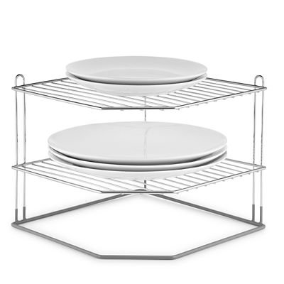Lakeland 2-Tier Corner Plate Rack, Chrome Plated - Holds Plates Up to 33cm Dia.