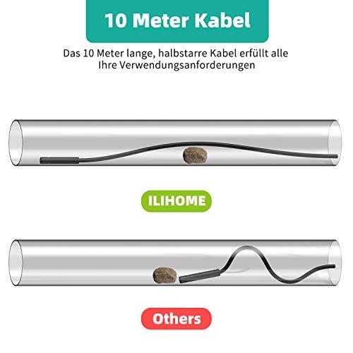 c/ámara de Serpiente semirr/ígida de 10 m 8 LED IP67 HD Resistente al Agua ILIHOME endoscopio Compatible con Android 8.0 o Superior y iOS Smartphone Tablet boroscopio de v/ídeo c/ámara de inspecci/ón