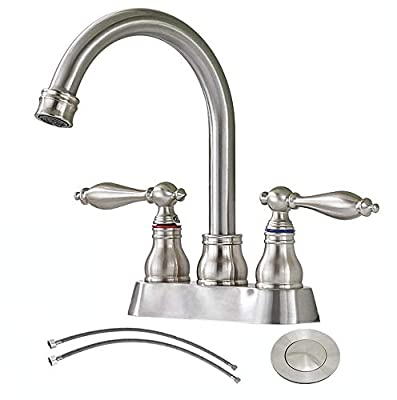 SHACO 4 Inch 2 Handle Centerset Antique Brushed Nickel Bathroom Sink Faucet,360 Degree Swivel Spout Lead-free Bathroom Lavatory Vanity Faucet Set with Accessories