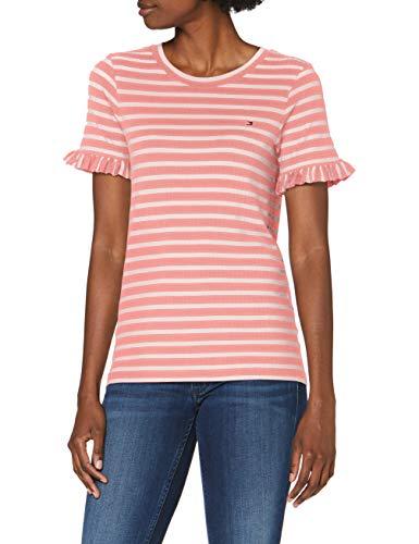 Tommy Hilfiger Damen Tanja Relaxed C-nk Tee Ss Sport Pullover, Pink (Breton STP/Pink Gr. -Pale Pink 0d9), 32 (Herstellergröße: X-Small)