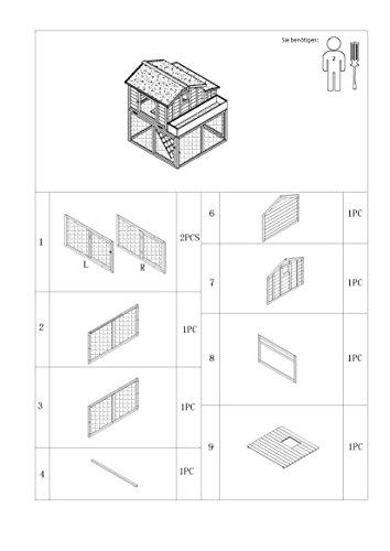 dobar 23033FSC Großer dekorativer Hühnerstall oder Kleintierstall XL mit Freigehege, Pflanzkasten und Legebox, 126 x 128 x 143 cm, weiß-braun-schwarz - 16