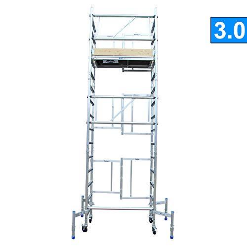 Alumexx X-Up 2.0 Vouwsteiger - Éénmans - Steiger - Vouw - Steiger - Aluminium - Steiger - Klap - Frame - 5.75 m Werkhoogte - Lichtgewicht - Op Wielen - Hollands Fabricaat