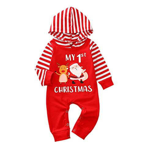 Aoliandatong Baby's My First Christmas Santa Reindeer Romper One-Piece Striped Sleeve Jumpsuit(80 Red)