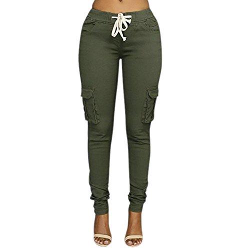 LAEMILIA Damen Stretch Beiläufig Skinny Hose Freizeithose in Khaki, Grün,Weiß (EU 36, Grün)