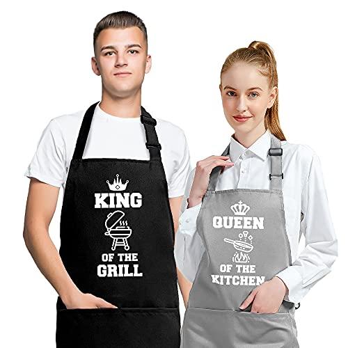 2 Piezas Delantales de Cocina, Delantal de Chef para Mujeres Hombres, Divertidos Delantales de Cocina para Aniversario Boda Compromiso Regalos de Despedida de Soltera para la Novia