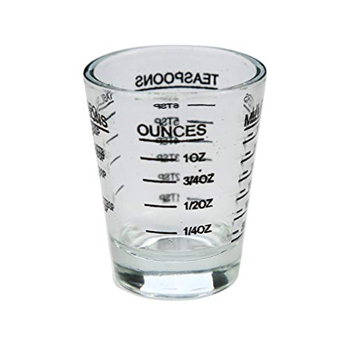 UPKOCH taza de medir con escala negra 30 ml vaso de chupito transparente para bar barman cocina cocina hornear utensilios de cocina herramienta de medida suministros