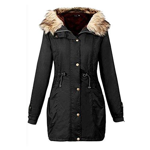 Jushye Womens Winter Coat Ladies Hoodies Womens Jackets Casual Hooded Long Coat Size Outwear (Black, XL) (XL, Black)