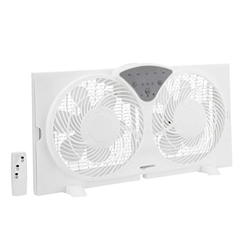 AmazonBasics Digital Window Fan with Twin 9-Inch Reversible Airflow Blades and Remote Control