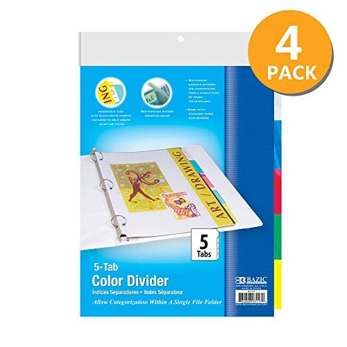 BAZIC 3-Ring Binder Dividers w/ 5-Insertable Color Tabs, 8. 5' x 11', for 3 Ring Binders with Tab Page, 3 Hole Punch Plastic Paper Binders Divider (10/Pack), 4-Pack