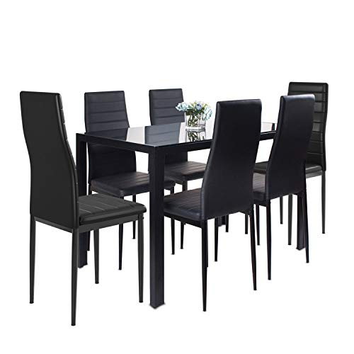 J jeffordoutlet Dining Table and Chairs, Black Smooth Glass Table with set of 6 High Back PU Leather Kitchen Chairs