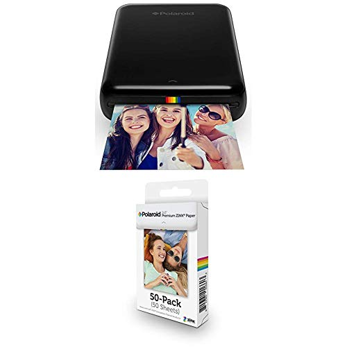 Image of the Polaroid ZIP Wireless Mobile Photo Mini Printer (Black) with Polaroid 2x3ʺ Premium ZINK Zero Photo Paper 50-Pack
