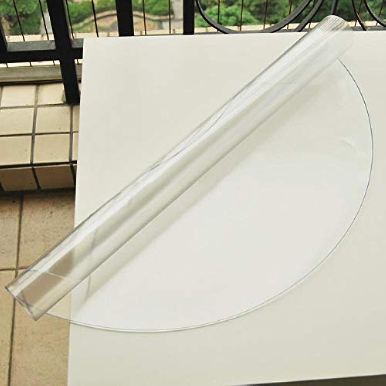 JKHSZKHH Le PVC nappePvc Table Ronde Tissu Transparent Nappes Imperméables Kitchen Pattern Huile Cover Glass Soft Cloth Nappe 140cm Diamètre Transparent