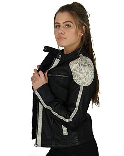 Damen Lederjacke Bikerjacke AVA Echt Leder Snuff Optik schwarz rot schwarz weiß, Größe:40, Farbe:Weiß