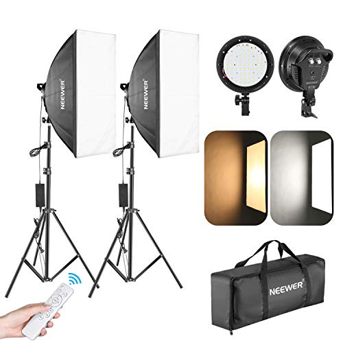 Neewer Photography LED Softbox Lighting Kit: 2-Pack 45W Dimmable 3000-5500K LED Light Head, 20x27-Inch Soft Box, Light Stand and IR Remote Continuous Lighting for Studio Video Advertising Shooting