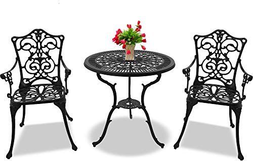 Centurion Supports TABREEZ Garden & Patio Table & 2 Large Chairs with Armrests Cast Aluminium Bistro Set - Black