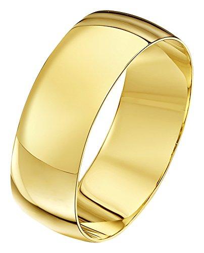 Theia-Bracciale Unisex in oro giallo 18 k, forma a D, 7 mm, Oro giallo, 23, colore: giallo, cod. TH10101