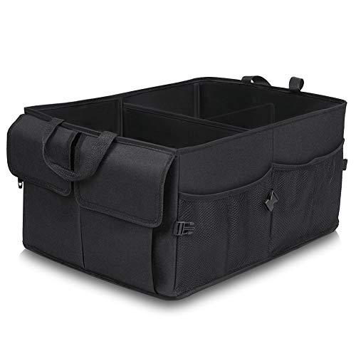 JiatuA Kofferraum Organizer Auto, Kofferraumtasche Faltbox Auto Kofferraum mit vielen Fächern Organizer Auto Aufbewahrungsbox Taschen Praktisch und Wasserdicht, Schwarz