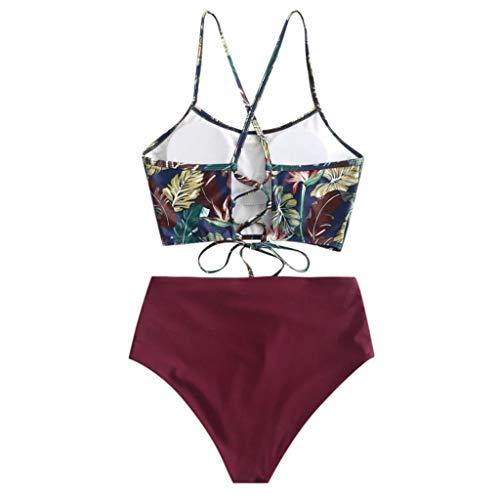 VESNIBA Bikini para mujer push-up, ajustable, atado al cuello, parte superior de bikini de dos piezas, estampado triangular, cintura baja Vino M