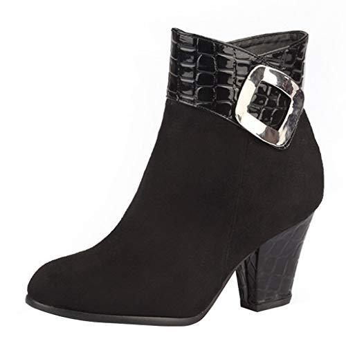 WUSIKY Geschenk für Frauen Stiefeletten Damen Bootsschuhe Boots Schlangendruck dicken Absatz Metall Stiefeletten Fashion kurzen high Heel Stiefel Schuhe (Schwarz, 39 EU)